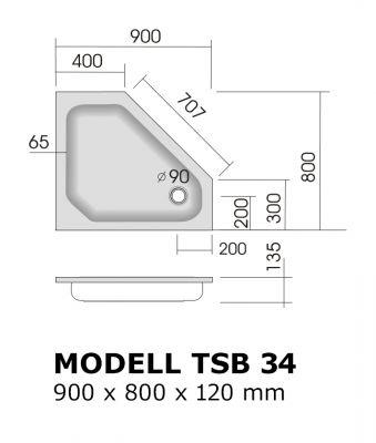 duschtasse 90x80 cm 12 cm abgeschr gt flach duschtassen duschbadewanne anti rutsch. Black Bedroom Furniture Sets. Home Design Ideas