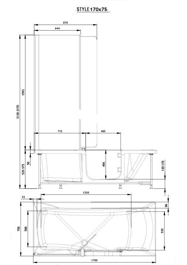 badewanne 170 x 75 cm hostyle rechts raumsparbadewanne badewanne mit t r duschbadewanne. Black Bedroom Furniture Sets. Home Design Ideas