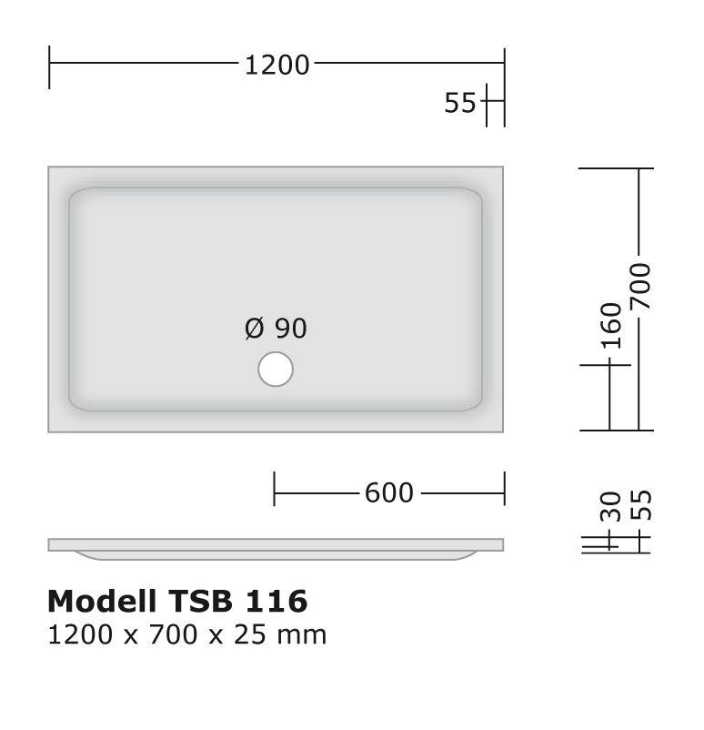 Komplett Set 120x70 Cm Duschtasse Montagerahmen Siphon Von