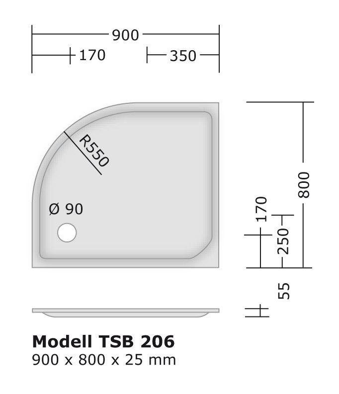 duschtasse 90x80 cm 2 5 cm radius 55 cm viertelkreis duschtassen duschbadewanne anti rutsch. Black Bedroom Furniture Sets. Home Design Ideas