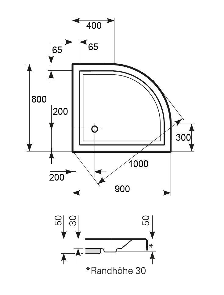 duschtasse 90x80x5 cm radius 50 cm viertelkreis duschtassen duschbadewanne anti rutsch. Black Bedroom Furniture Sets. Home Design Ideas