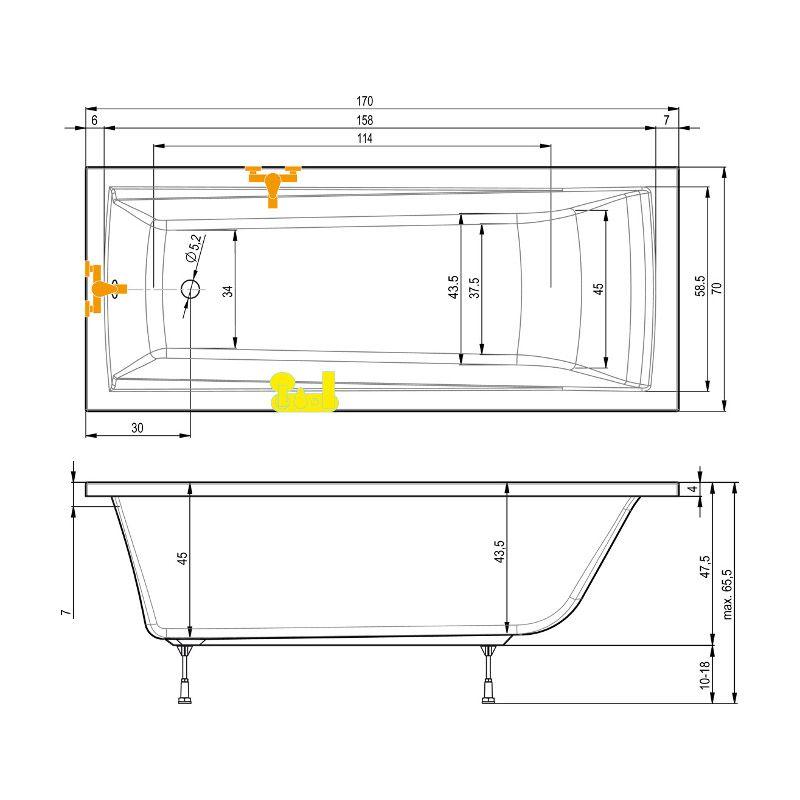 komplett set 170x70 cm badewanne wannentr ger ablauf. Black Bedroom Furniture Sets. Home Design Ideas