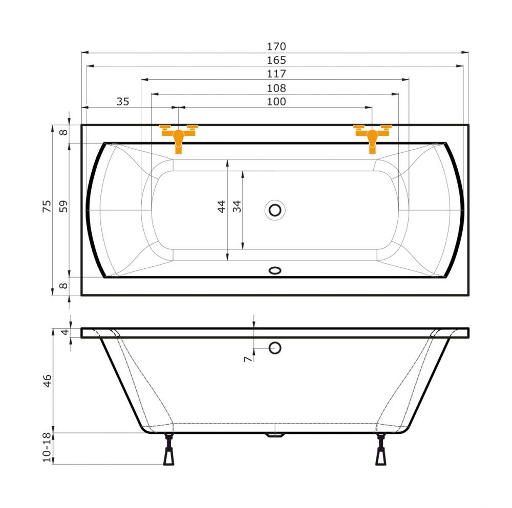 Badewanne 170x75 for Asymmetrische badewanne 170