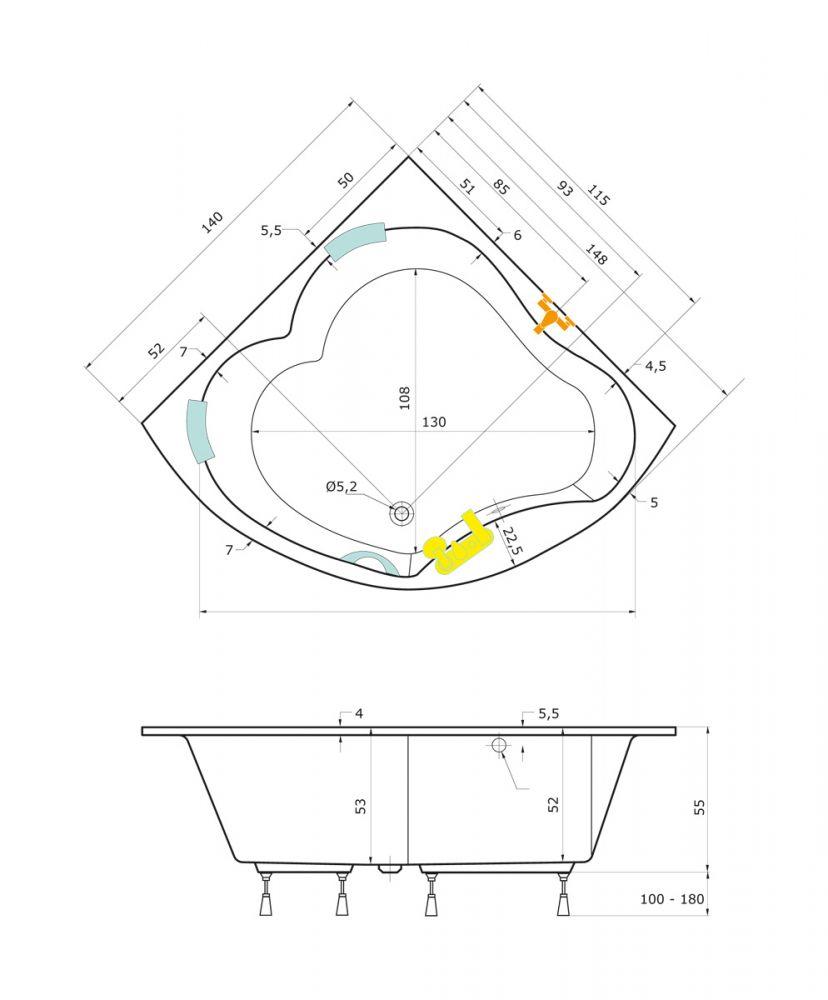 Größe Badewanne badewanne 149 x 149 diamant eckbadewanne badewanne mit dusche