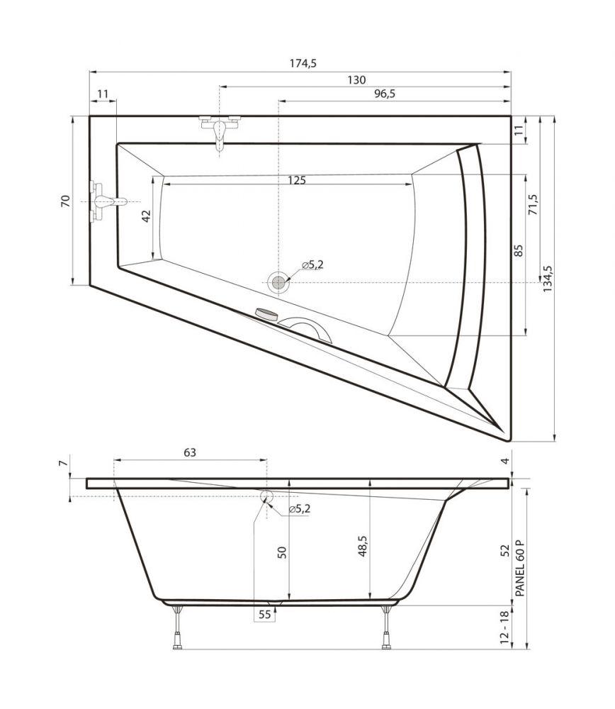 badewanne 175 x 135 galia raumsparbadewanne badewanne mit dusche duschbadewanne. Black Bedroom Furniture Sets. Home Design Ideas
