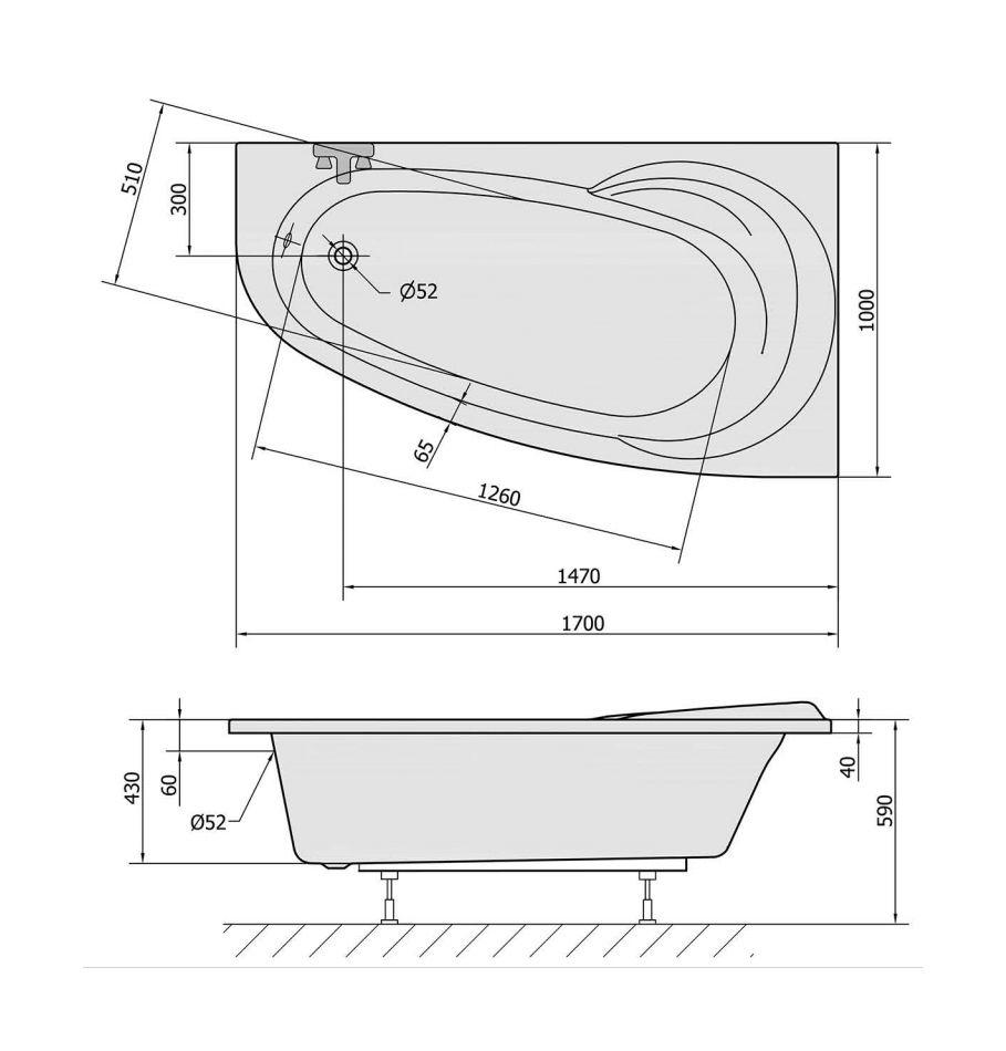 Asymmetrische badewanne 170x100 for Asymmetrische badewanne 170