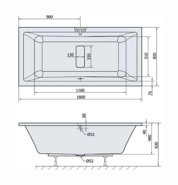 rechteck badewanne 180x80 cm whirlpool m glich hergestellt in europa ihr bad info. Black Bedroom Furniture Sets. Home Design Ideas