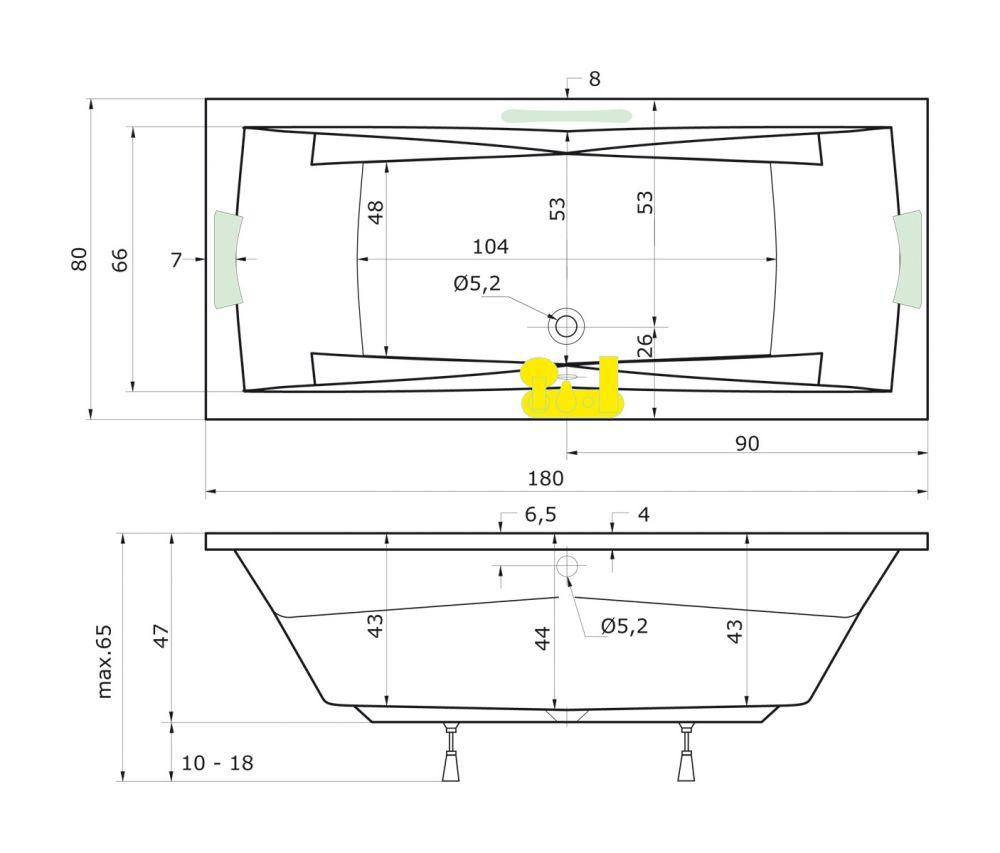 badewanne 180 x 80 corona rechteckbadewanne badewanne mit dusche duschbadewanne. Black Bedroom Furniture Sets. Home Design Ideas
