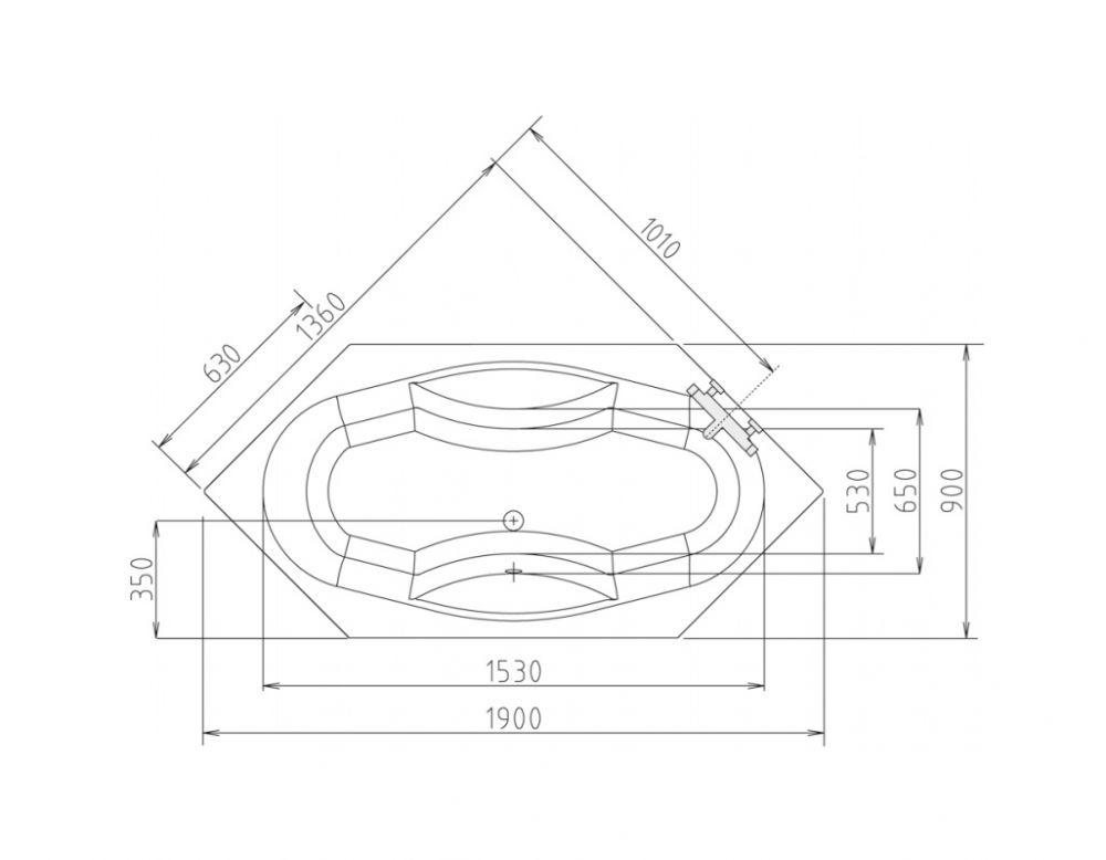 6-ECK Badewanne 190x90 cm (Whirlpool möglich) ✓ Hergestellt in ...