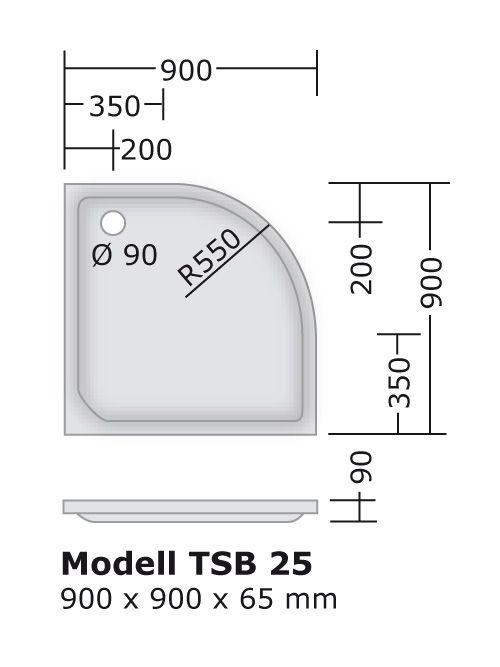 duschtasse 90x90 cm 6 5 cm radius 55 cm viertelkreis duschtassen duschbadewanne anti rutsch. Black Bedroom Furniture Sets. Home Design Ideas