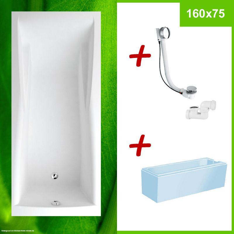 Komplett Set 160x75 Cm, Badewanne + Wannenträger + Excentergarnitur    COLUMBA 160x75