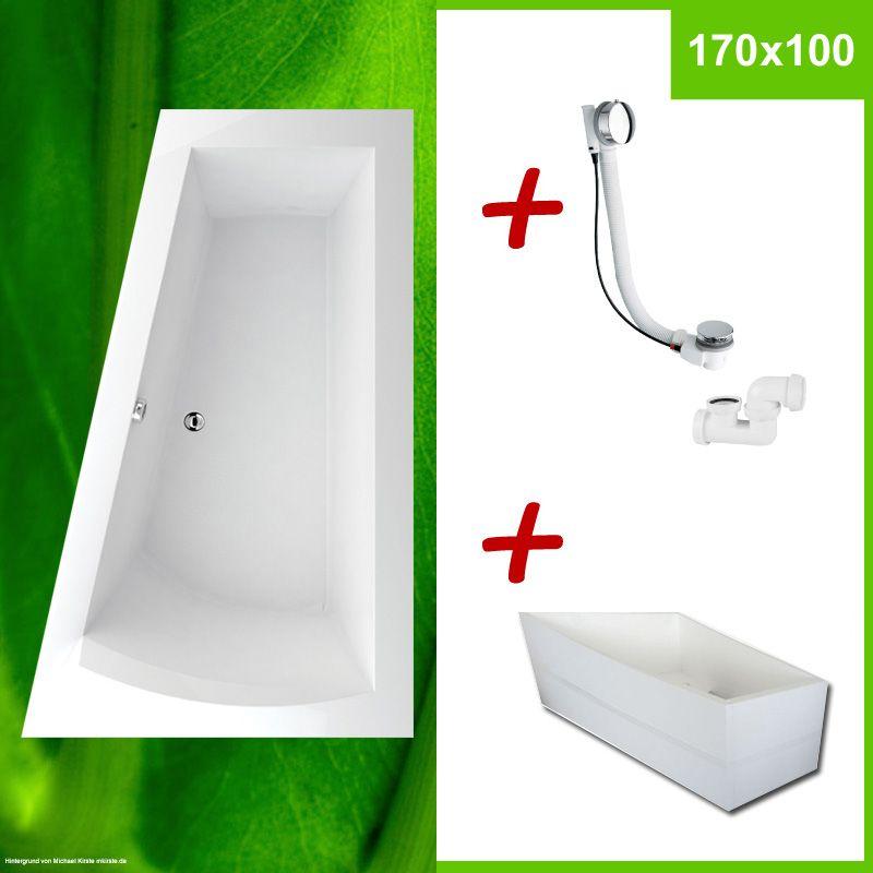 TRAPEZ Badewanne + Wannenträger + Excenter, 170x100 R Komplett Set ✓ NERA