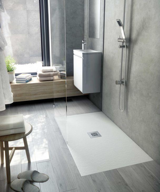 bodengleiche dusche 160x80 x3 cm lxb xh mineralguss extraflach serie essential ablauf zentral