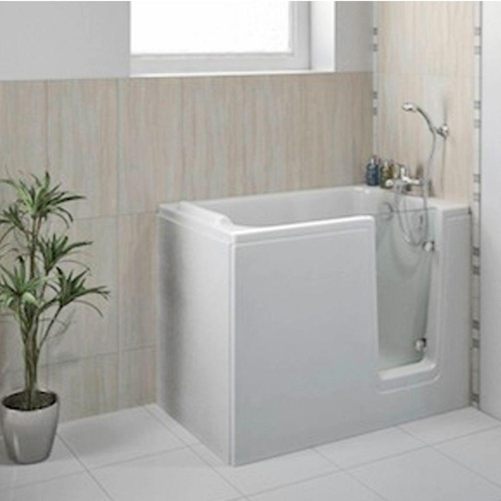 Duschbadewanne mit tür  Badewanne 121x65 cm HODEEP Rechts - Raumsparbadewanne, Badewanne mit ...