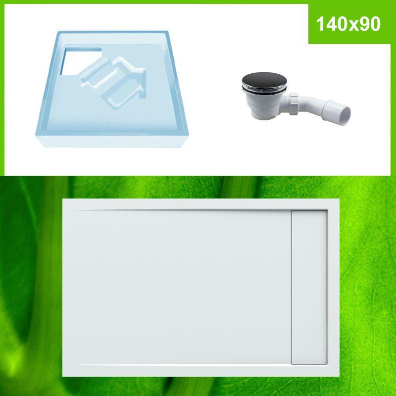 duschwanne mit wannentr ger und siphon komplett set 140x90. Black Bedroom Furniture Sets. Home Design Ideas